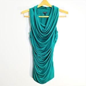 Express Green Cowl Neck Evening Party Mini Dress